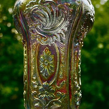 Imperial Glass Smoky/Purple Scroll and Flower Panel Vase,Unmarked - Glassware
