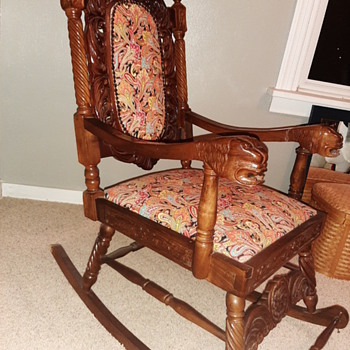 Hand carved wooden rocking chair - Furniture