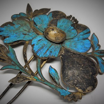 Qing Dynasty Kingfisher feather Hair Pin, Chinese 19th Century - Asian