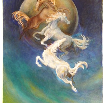 "Vintage Oil Painting ""Blue Moonstone Horses"" By Reiko - Animals"