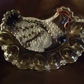 "My Wife's Favorite ""CHICKEN"" Deviled Egg Glass Platter - Who Made It? - Kitchen"