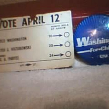 Ex- Mayor Harold Washington Pin & Punch Card.