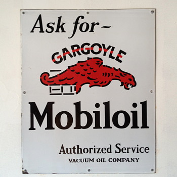 Ask for ~ Gargoyle Mobiloil Sign from the 1920's - Petroliana