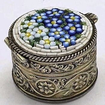 Micro Mosaic Forget me not Silver pill box - Fine Jewelry