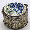 Micro Mosaic Forget me not Silver pill box