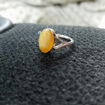 Sterling and Egg Yolk Amber - Fine Jewelry