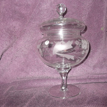 Romanian Glass etched candy dish - Glassware