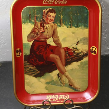 1941 coke tray skating girl  - Coca-Cola