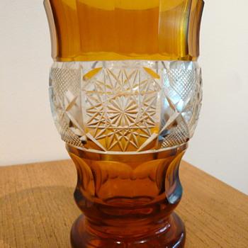 BOHEMIAN BRUNSWICK STAR AMBER BEAKER MYSTERY - Art Glass
