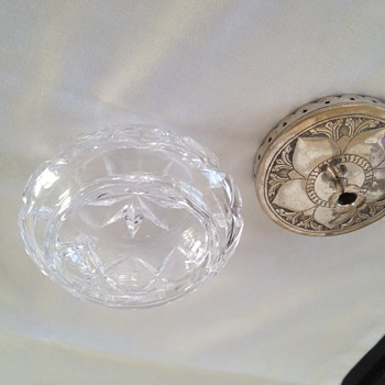 art nouveau style cut glass and silver vanity jar - Glassware