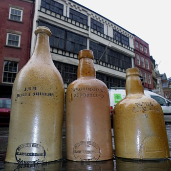 north east  salt glazed  porters  pottery stephen green lambeth london 1840s = 1860 year  diamonds  - Bottles