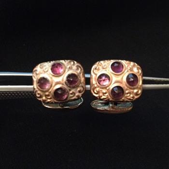 Victorian Amethyst Cufflinks Marked H.A. & CO. - Accessories