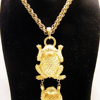 Vintage Pauline Rader Mayan Frogs Necklace
