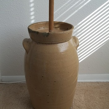 "Stoneware Butter Churn. ""4"" - China and Dinnerware"
