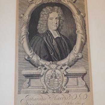 R. & G. White Etching - JOHANNES HARRIS D.D. Regia Societatis Socius - Ætal. Sua' 40.  - c. 1706 - Fine Art