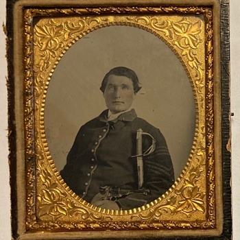 Tintype of Cavalryman with Kerr Revolver - Military and Wartime