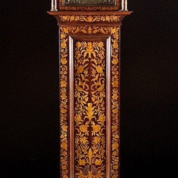 Mid 20th Century Tall Case Dutch Marquetry Reproduction with an Antique French Morbier Movement   - Clocks