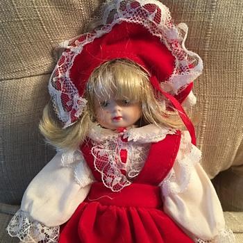 Porcelain doll no markings Red Velvet Dress - Dolls