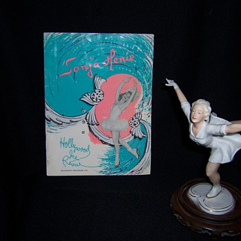 Sonja Henie Skating Porcelain Figurine and Original Autographed Souvenir Program - Dolls