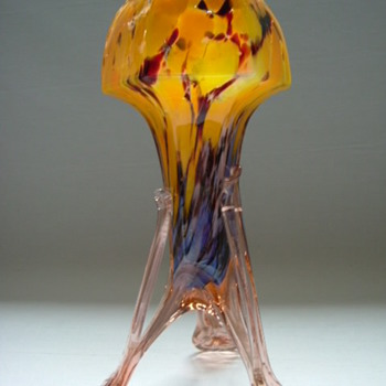 Czech Art Deco Spatter Glass Vase on Legs - Art Glass