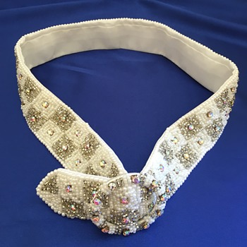 Vintage Beaded Belt/Sash With Crystals - Accessories