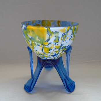 Czech Art Deco Welz Spatter Glass Bowls on Legs - Art Glass