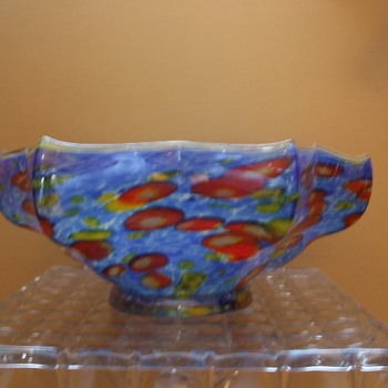Large Kralik Millefiori Iridized Knuckle Bowl in Blue - Art Glass