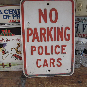 Embossed Galvanized Steel No Parking Police Cars Sign  - Signs