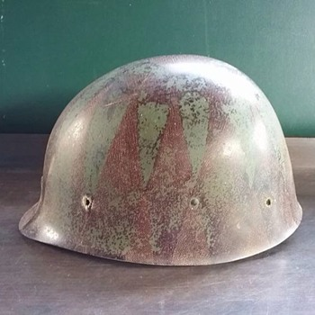 Military Army Green and Brown Hard Hat Helmet - Military and Wartime
