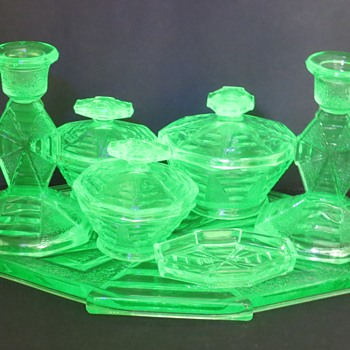 Uranium Glass Dressing Table Set (Trinket Set) by Bagley Glass - Glassware