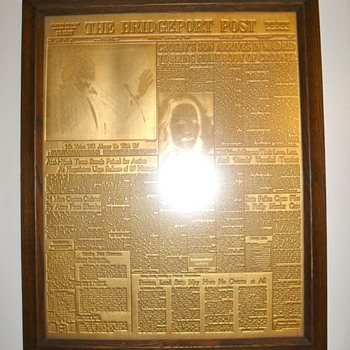 1977 Gold Plated Newspaper Printing Press Plate featuring Bing Crosby's Death - Music Memorabilia