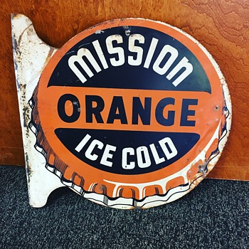 "Mission ""ORANGE"" Ice Cold  double-sided flange tin sign  - Signs"
