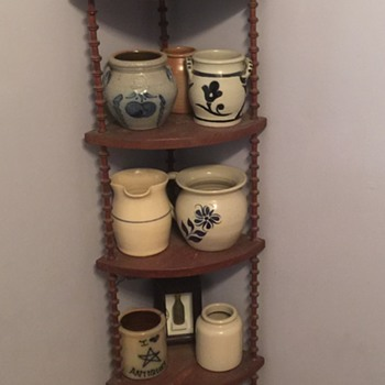 Various pottery and wooden spool shelf - Pottery
