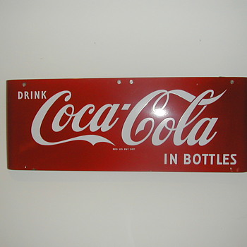 "1959 Coca-Cola ""Sled"" Sign 16""x43"" - Coca-Cola"
