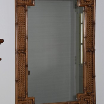 Mid Century Modern Faux Bamboo /Rattan mirror. - Furniture