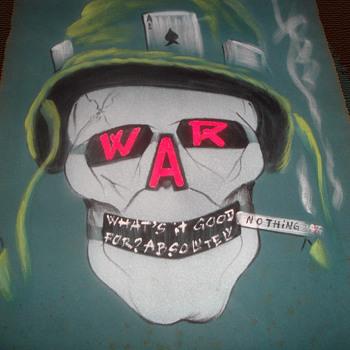 Two 1960s Vietnam War Era Original Anti-War Protest Folk Art Painted on Fabric - Velvet? - Politics
