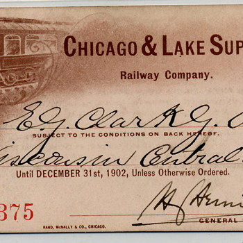 Chicago & Lake Superior Railroad - 1902 Annual Pass - Railroadiana