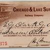 Chicago & Lake Superior Railroad - 1902 Annual Pass