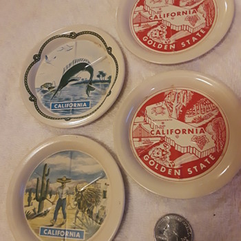 4pcs CALIFORNIA souvenir tin coasters - Advertising