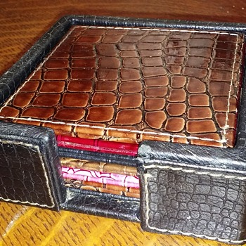 7pc. embossed leather coaster set