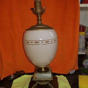 Not sure what this is converted oil lamp?blown glass? Egg lamp? - Lamps