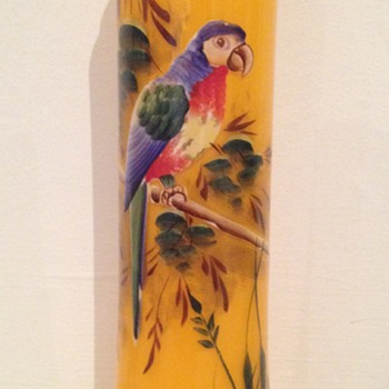 Deco vase with parrot hallmarked 1927 - Art Glass