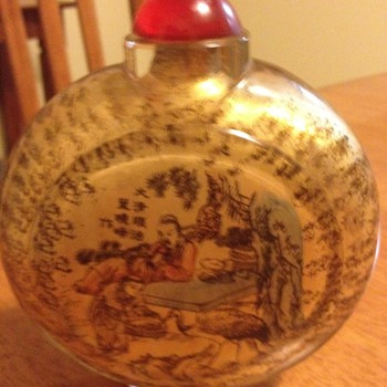 snuff bottle has picture and chinese or japanese writing on it very interesting want to know more about it please - Asian
