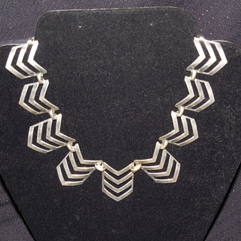 Vintage Unmarked Silver Chevron Necklace - Costume Jewelry