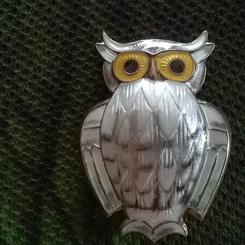 David Andersen Norway Sterling Silver & White Guilloche Enamel Owl Pin Thrift Shop Find $10 - Silver
