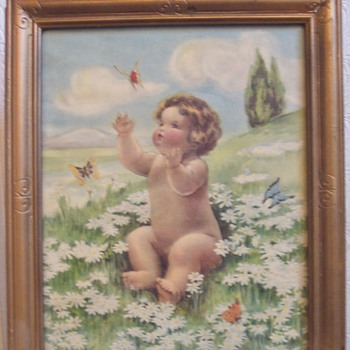 """Bessie Pease Gutmann """"Daisies & Butterflies"""" - Posters and Prints"""