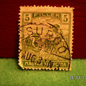 "Antique 1916-1918 ""Harvesting"" Magyar Kir Posta 5 Filler Posta Stamp ~ Used - Stamps"