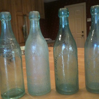 4 Old Blob Top Beer Bottles