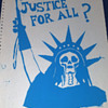 "Berkeley 1970 Student Anti Vietnam War Protest Poster on Matrix Computer Paper- ""Liberty and Justice for All"""