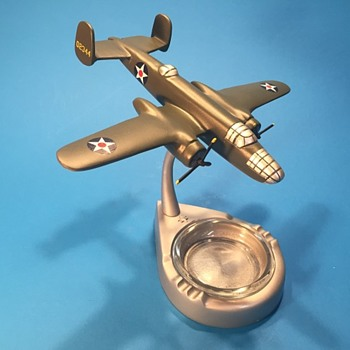 North American Factory Made B-25B Cast Brass Ashtray Model- Doolittle's Airplane Restored - Tobacciana